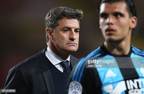 Coach of Olympique de Marseille Jose Miguel Gonzalez Martin del Campo aka Michel leaves the field following the French Ligue 1 match between AS...