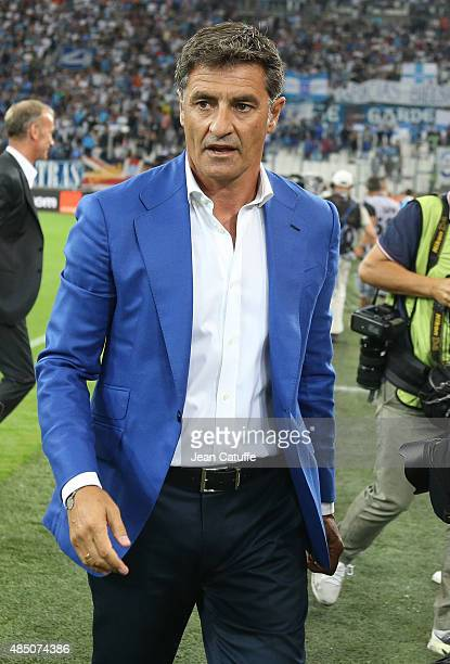 Coach of OM Jose Miguel Gonzalez Martin del Campo aka Michel looks on before the French Ligue 1 match between Olympique de Marseille and Troyes ESTAC...