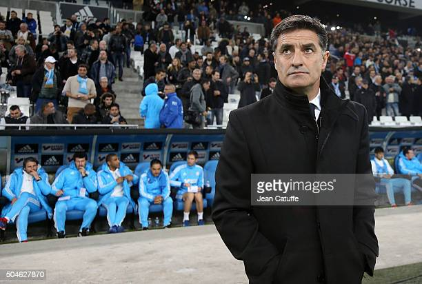Coach of OM Jose Miguel Gonzalez Martin del Campo aka Michel looks on during the French Ligue 1 match between Olympique de Marseille and En Avant...