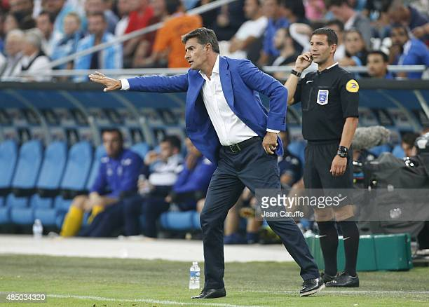 Coach of OM Jose Miguel Gonzalez Martin del Campo aka Michel reacts during the French Ligue 1 match between Olympique de Marseille and Troyes ESTAC...