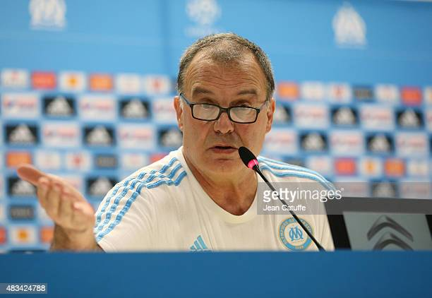 Coach of OM Marcelo Bielsa announces his surprising decision to resign during a press conference following the French Ligue 1 match between Olympique...