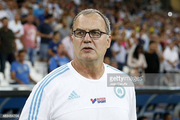 Coach of OM Marcelo Bielsa looks on during the French Ligue 1 match between Olympique de Marseille and SM Caen at Stade Velodrome on August 8 2015 in...