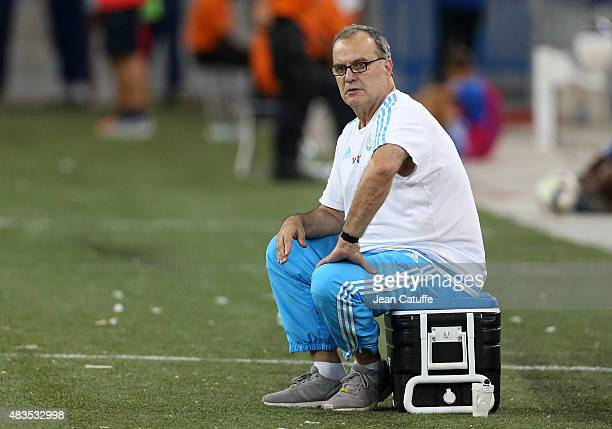Coach of OM Marcelo Bielsa reacts during the French Ligue 1 match between Olympique de Marseille and SM Caen at Stade Velodrome on August 8 2015 in...