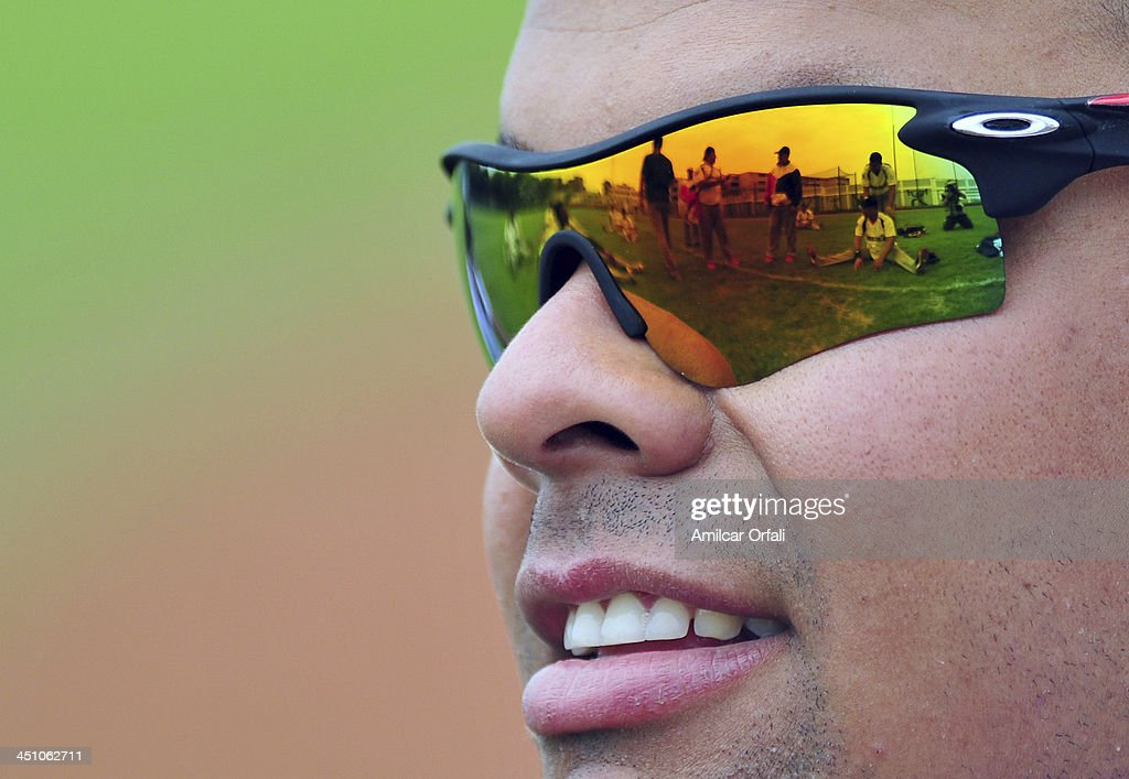 Coach of Panama looks on as his players warm up before a match between Bolivia and Panama as part of the XVII Bolivarian Games Trujillo 2013 at Villa Regional del Callao on November 21, 2013 in Lima, Peru.