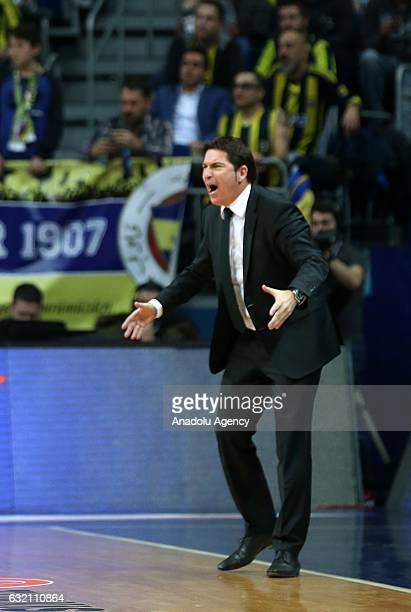 Coach of Panathinaikos Superfoods Pascual Xavi gestures during the Turkish Airlines Euroleague 18th week game between Fenerbahce and Panathinaikos...