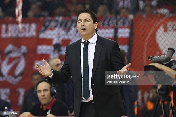 Coach of Panathinaikos Superfoods Xavi Pascual reacts during Turkish Airlines Euroleague 16th week game between Olympiacos Piraeus and Panathinaikos...