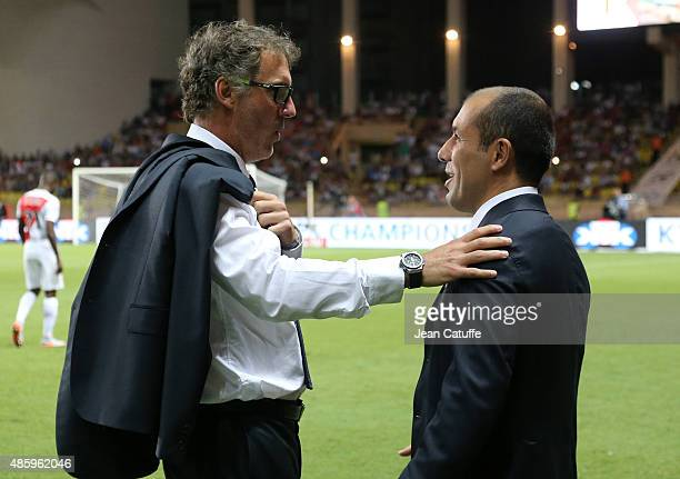 Coach of PSG Laurent Blanc and coach of Monaco Leonardo Jardim talk before the French Ligue 1 match between AS Monaco and Paris SaintGermain at Stade...