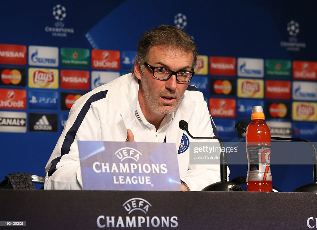 Coach of PSG Laurent Blanc answers to the media during a press conference on the eve of the UEFA Champions League match between Paris Saint-Germain (PSG) and Real Madrid at Parc des Princes stadium on October 20, 2015 in Paris, France.