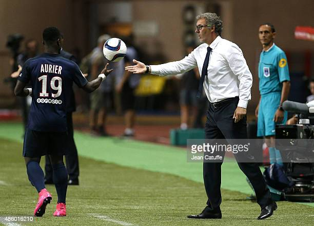 Coach of PSG Laurent Blanc gives the ball to Serge Aurier of PSG during the French Ligue 1 match between AS Monaco and Paris SaintGermain at Stade...