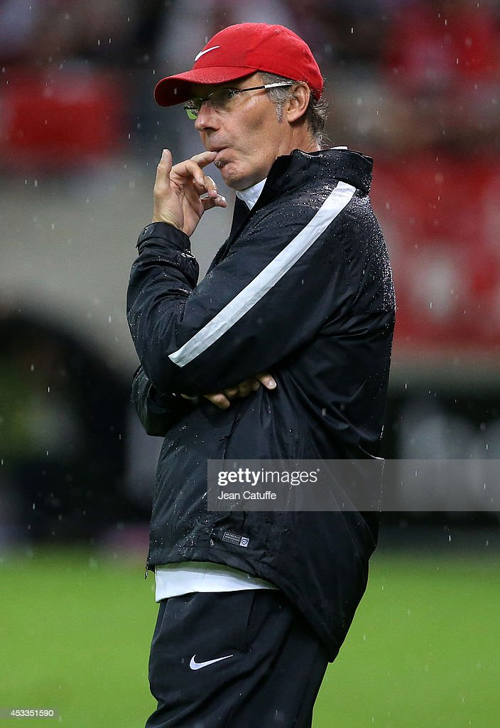 Coach of PSG <a gi-track='captionPersonalityLinkClicked' href=/galleries/search?phrase=Laurent+Blanc&family=editorial&specificpeople=211209 ng-click='$event.stopPropagation()'>Laurent Blanc</a> looks on during the French Ligue 1 match between Stade de Reims and Paris Saint Germain FC at the Stade Auguste Delaune on August 8, 2014 in Reims, France.