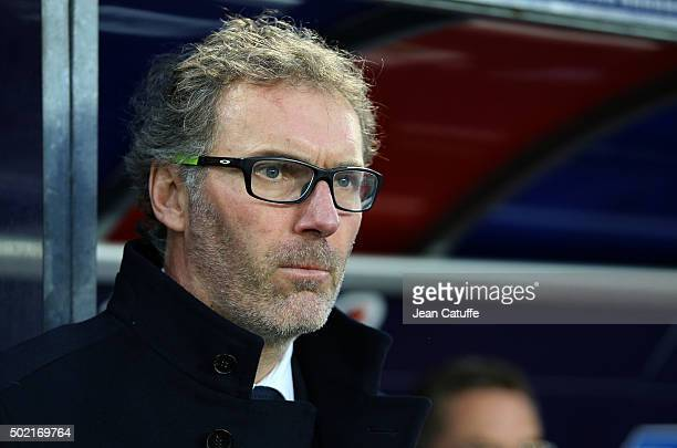 Coach of PSG Laurent Blanc looks on during the French Ligue 1 match between Stade Malherbe de Caen and Paris SaintGermain at Stade Michel D'Ornano on...