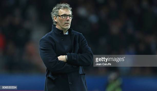 Coach of PSG Laurent Blanc looks on during the French Ligue 1 match between Paris SaintGermain and SCO Angers at Parc des Princes stadium on January...