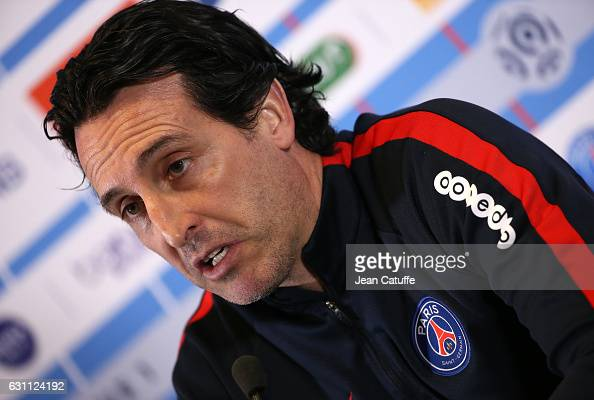 Coach of PSG Unai Emery answers to the media during a press conference preceding a training session of Paris Saint Germain at Camp des Loges Ooredoo...