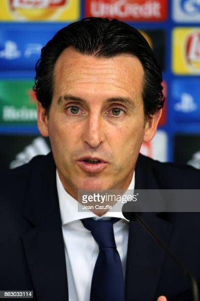 Coach of PSG Unai Emery answers to the media following the UEFA Champions League match between RSC Anderlecht and Paris Saint Germain at Constant...