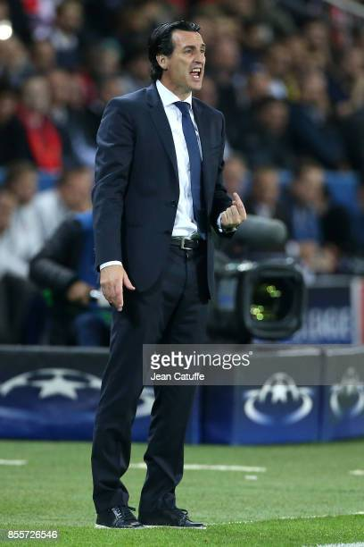 Coach of PSG Unai Emery during the UEFA Champions League group B match between Paris SaintGermain and Bayern Muenchen at Parc des Princes on...