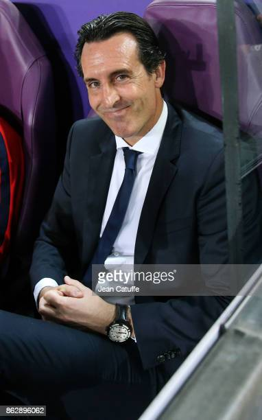 Coach of PSG Unai Emery during the UEFA Champions League match between RSC Anderlecht and Paris Saint Germain at Constant Vanden Stock Stadium on...