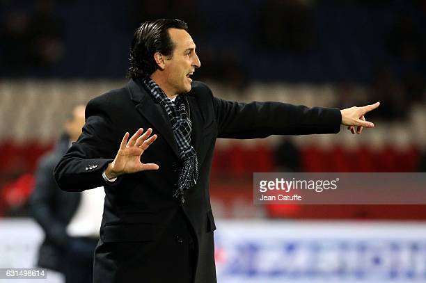 Coach of PSG Unai Emery gestures during the French League Cup match between Paris SaintGermain and FC Metz at Parc des Princes stadium on January 11...