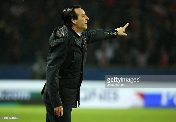 Coach of PSG Unai Emery gestures during the French Ligue 1 match between Paris SaintGermain and FC Lorient at Parc des Princes stadium on December 21...