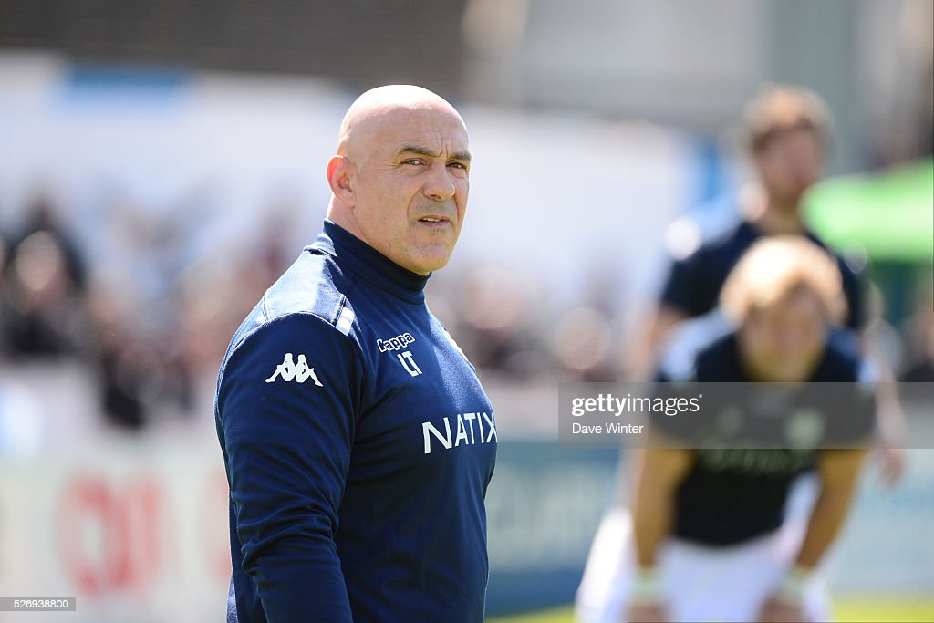 Coach of Racing 92 Laurent Travers during the French Top 14 rugby union match between Racing 92 v Clermont at Stade Yves Du Manoir on May 1, 2016 in Colombes, France.