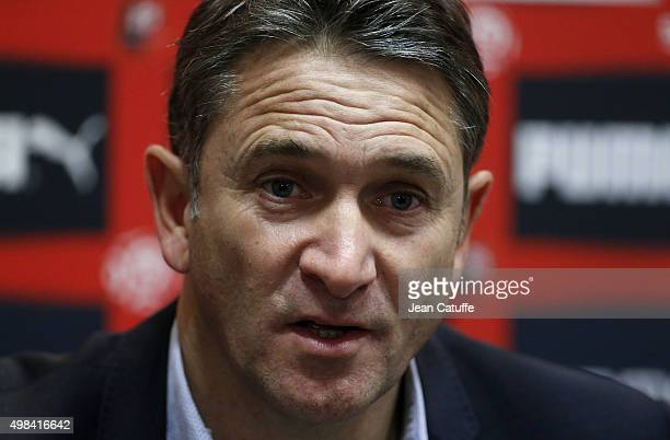 Coach of Rennes Philippe Montanier answers to the media following the French Ligue 1 match between Stade Rennais and Girondins de Bordeaux at Roazhon...