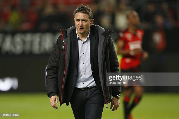 Coach of Rennes Philippe Montanier looks on following the French Ligue 1 match between Stade Rennais and Girondins de Bordeaux at Roazhon Park...