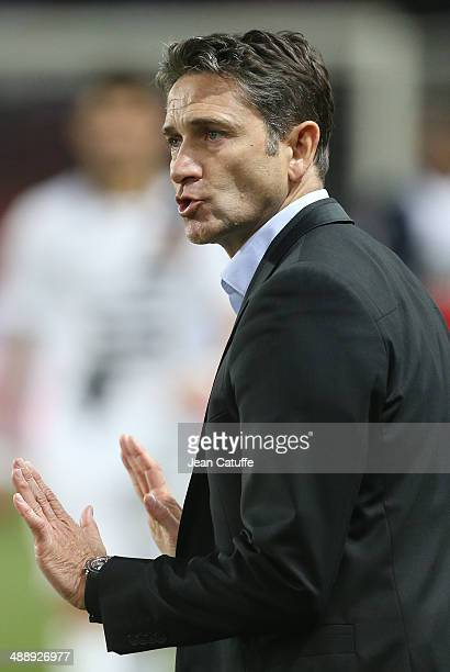 Coach of Rennes Philippe Montanier reacts during the french Ligue 1 match between Paris SaintGermain FC and Stade Rennais FC at Parc des Princes...