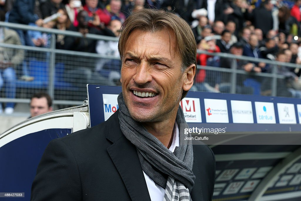 Coach of Sochaux <a gi-track='captionPersonalityLinkClicked' href=/galleries/search?phrase=Herve+Renard&family=editorial&specificpeople=2789238 ng-click='$event.stopPropagation()'>Herve Renard</a> looks on during the french Ligue 1 match between FC Sochaux Montbeliard and Paris Saint-Germain FC at Stade Bonal on April 27, 2014 in Sochaux, France.