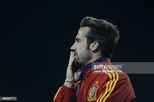 Coach of Spain Jorge Vilda looks on during the FIFA U17 Women's World Cup Quarter Final match between Nigeria and Spain at Edgardo Baltodano Briceno...