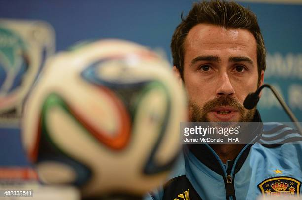 Coach of Spain Jorge Vilda talks to the media during a FIFA U17 World Cup press conference at the Hotel Intercontinental on April 3 2014 in San Jose...