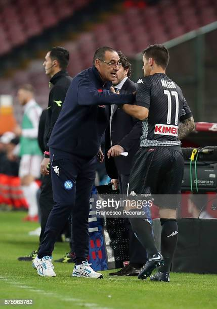 Coach of SSC Napoli Maurizio Sarri and player Christian Maggio during the Serie A match between SSC Napoli and AC Milan at Stadio San Paolo on...