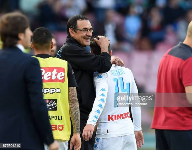 Coach of SSC Napoli Maurizio Sarri and player Dries Mertens during the Serie A match between SSC Napoli and Cagliari Calcio at Stadio San Paolo on...