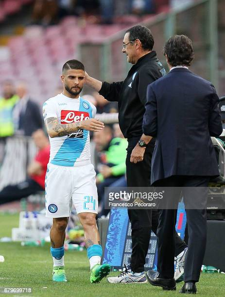 Coach of SSC Napoli Maurizio Sarri and player Lorenzo Insigne during the Serie A match between SSC Napoli and Cagliari Calcio at Stadio San Paolo on...