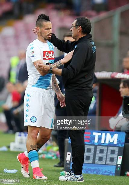 Coach of SSC Napoli Maurizio Sarri and player Marek Hamsik during the Serie A match between SSC Napoli and Cagliari Calcio at Stadio San Paolo on May...