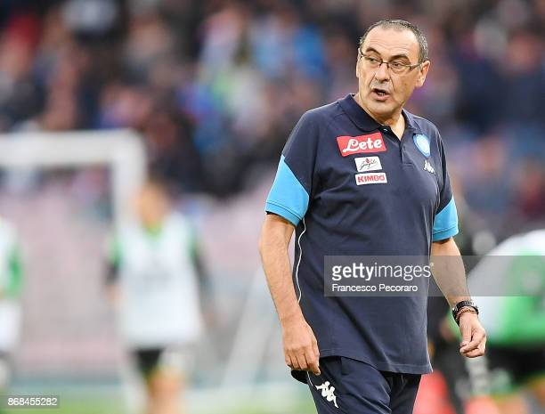 Coach of SSC Napoli Maurizio Sarri during the Serie A match between SSC Napoli and US Sassuolo at Stadio San Paolo on October 29 2017 in Naples Italy