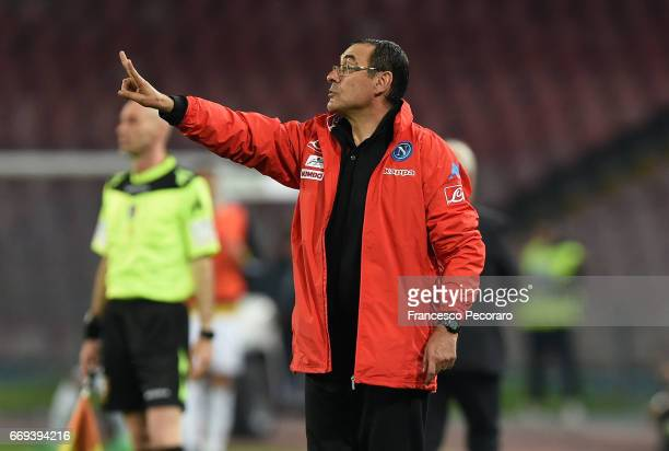 Coach of SSC Napoli Maurizio Sarri gestures during the Serie A match between SSC Napoli and Udinese Calcio at Stadio San Paolo on April 15 2017 in...