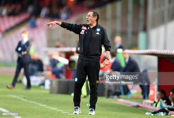 Coach of SSC Napoli Maurizio Sarri gestures during the Serie A match between SSC Napoli and Cagliari Calcio at Stadio San Paolo on May 6 2017 in...