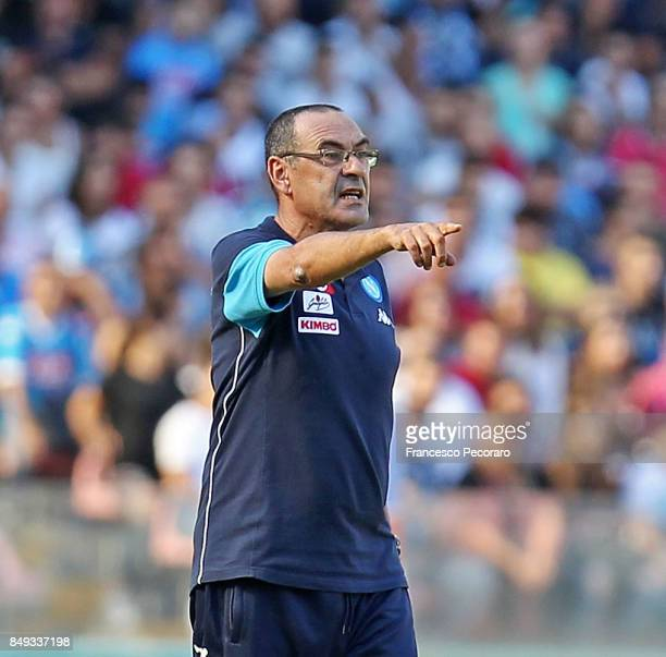 Coach of SSC Napoli Maurizio Sarri gestures during the Serie A match between SSC Napoli and Benevento Calcio at Stadio San Paolo on September 17 2017...