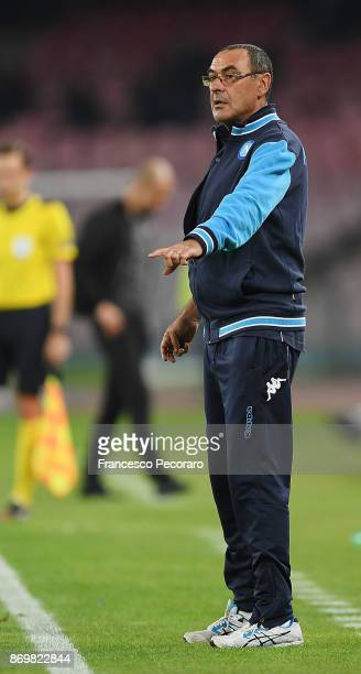 Coach of SSC Napoli Maurizio Sarri gestures during the UEFA Champions League group F match between SSC Napoli and Manchester City at Stadio San Paolo...