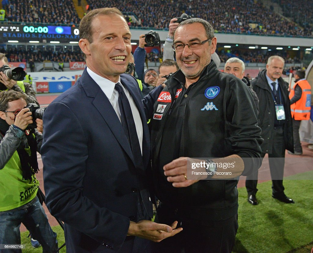 Coach of SSC Napoli Maurizio Sarri greets coach Juventus FC Massimiliano Allegri before the TIM Cup match between SSC Napoli and Juventus FC at Stadio San Paolo on April 5, 2017 in Naples, Italy.