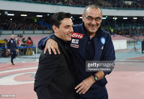 Coach of SSC Napoli Maurizio Sarri greets coach of AC Milan Vincenzo Montella before the Serie A match between SSC Napoli and AC Milan at Stadio San...