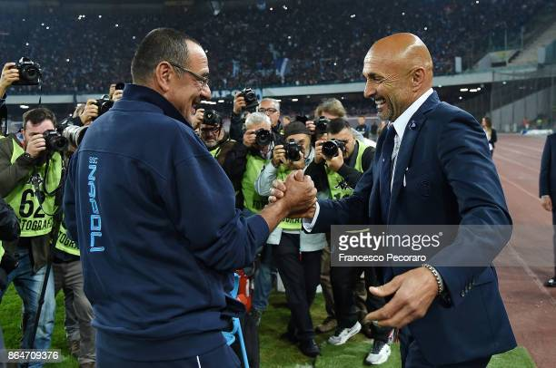 Coach of SSC Napoli Maurizio Sarri greets coach of FC Internazionale Luciano Spalletti during the Serie A match between SSC Napoli and FC...
