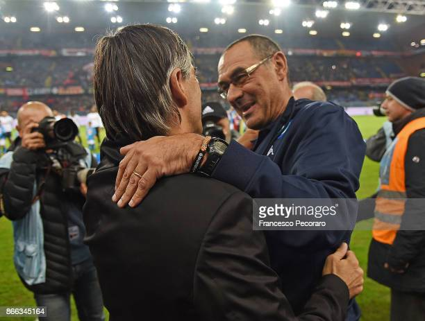 Coach of SSC Napoli Maurizio Sarri greets coach of Genoa CFC Ivan Juric during the Serie A match between Genoa CFC and SSC Napoli at Stadio Luigi...