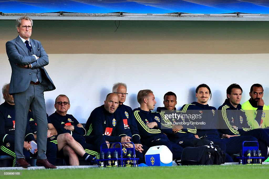 Coach of Sweden Erik Hamren and <a gi-track='captionPersonalityLinkClicked' href=/galleries/search?phrase=Zlatan+Ibrahimovic&family=editorial&specificpeople=206139 ng-click='$event.stopPropagation()'>Zlatan Ibrahimovic</a> of Sweden during the international friendly match between Sweden and Slovenia on May 30, 2016 in Malmo, Sweden.