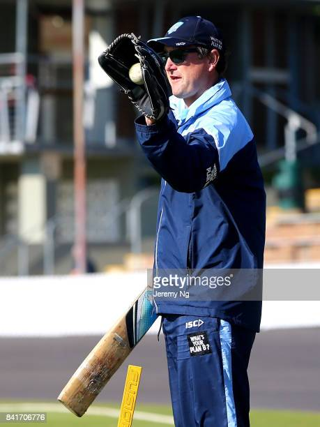 Coach of Team Jaques Phil Jaques warms up prior to the Cricket NSW Intra Squad Match at Hurstville Oval on September 2 2017 in Sydney Australia