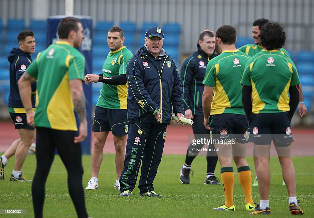 Coach of the Australia Kangaroos Tim Sheens gives his team instructions during a training session at Sport City Complex on October 30, 2013 in Manchester, England.