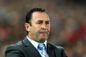 Coach of the Blues Ricky Stuart looks on from the sideline during game two of the ARL State of Origin series between the New South Wales Blues and...