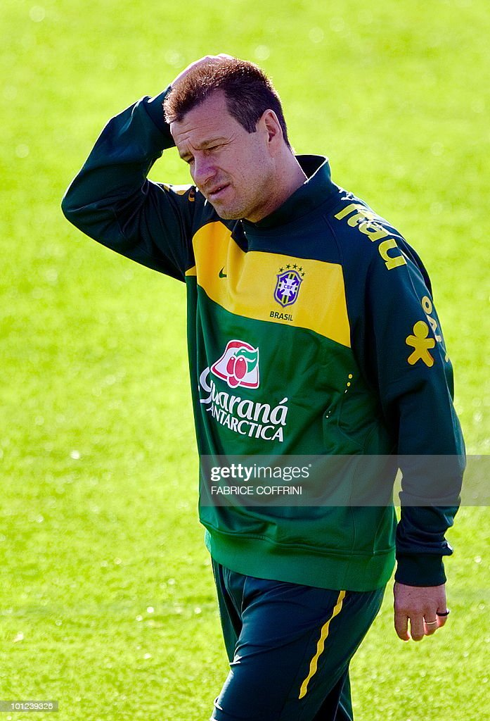 Coach of the Brazilian national football team, Dunga, gestures during a training session on May 28, 2010 at Randburg High School in Johannesburg ahead of the June 11 to July 11 FIFA World Cup in South Africa. Five-time World champions Brazil will arrive in Tanzania on June 6 for an international friendly with the 'Taifa Stars' on June 7.