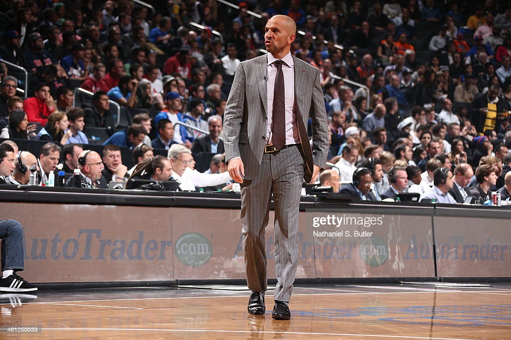 Coach of the Brooklyn Nets <a gi-track='captionPersonalityLinkClicked' href=/galleries/search?phrase=Jason+Kidd&family=editorial&specificpeople=201560 ng-click='$event.stopPropagation()'>Jason Kidd</a> during a game against the New York Knicks during a game at Barclays Center on December 5, 2013 in the Brooklyn borough of New York City.