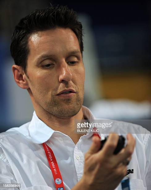 Coach of the German swimming team Henning Lambertz looks is pictured on December 14 2012 during the FINA World Short Course Swimming Championships in...