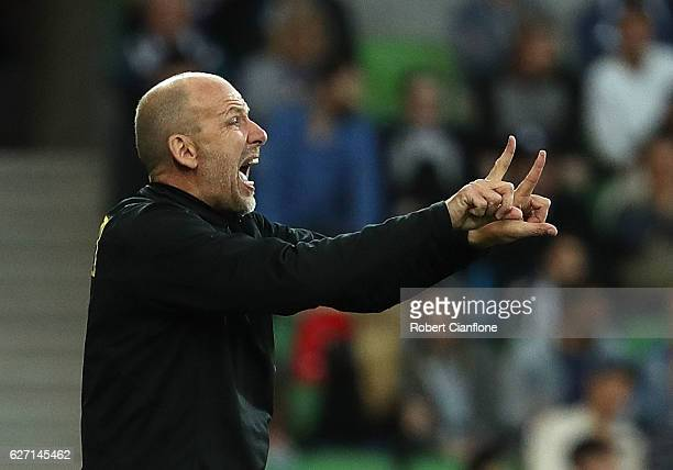 Coach of the Glory Kenny Lowe gestures during the round nine ALeague match between Melbourne Victory and Perth Glory at AAMI Park on December 2 2016...